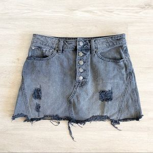 Free People Button Front Distressed Jean Skirt 27
